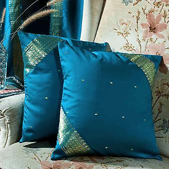 Turquoise - handcrafted housse de coussin, taie d'oreiller jet Euro Sham-6 tailles