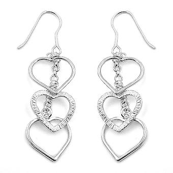 Silver ear hook earrings Silver 3 chain heart earrings 925 sterling silver