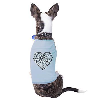 العنكبوت قلب ويب الحيوانات الأليفة السماء الزرقاء قميص قميص لطيف الكلب الصغيرة الرسم