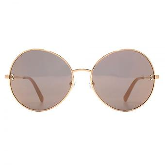 Stella McCartney Large Metal Round Sunglasses In Gold Silver Pink Mirror