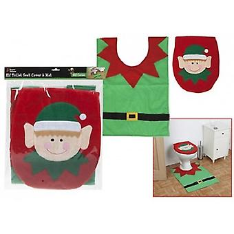 Snow White Novelty Christmas Elf Toilet Seat Cover & Floor Mat