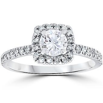 1 / 2ct Diamond kudde Halo förlovningsring 10K vitt guld