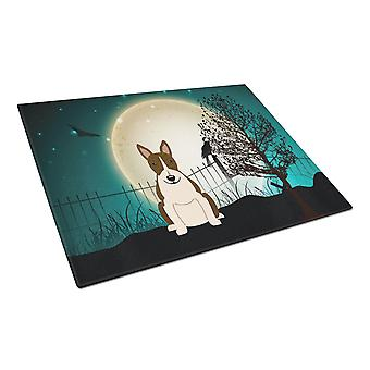 Halloween miedo Bull Terrier vidrio manchado oscuro tabla de cortar grande