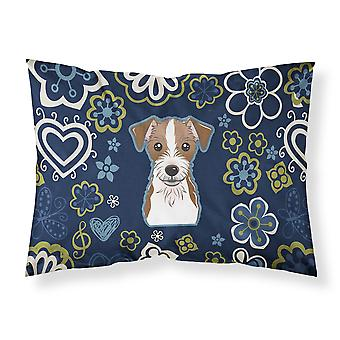 Blue Flowers Jack Russell Terrier Fabric Standard Pillowcase