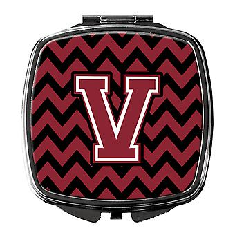 Letter V Chevron Garnet and Black  Compact Mirror