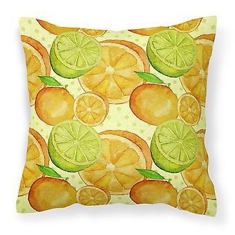Watercolor Limes and Oranges Citrus Fabric Decorative Pillow