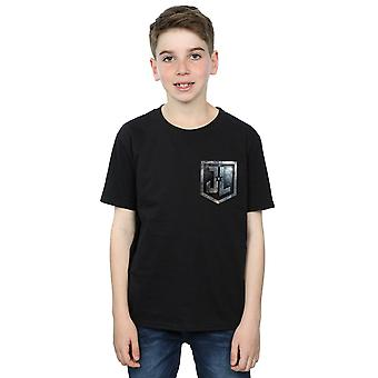 DC Comics Boys Justice League Movie Shield Faux Pocket T-Shirt