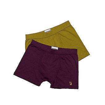Original Eskimo 04.44.91137 Men's Play Purple and Ochre Yellow Cotton Fitted Boxers 2 Pack