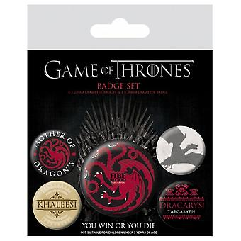 Game Of Thrones Badge Pack targaryen Fire And Blood new Official 5 X button
