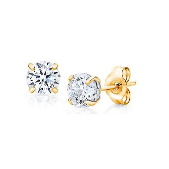 10k Yellow Gold Round CZ Stud Earring