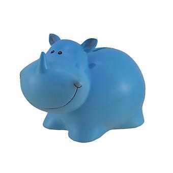 Förtjusande blå noshörning Kids mynt Bank