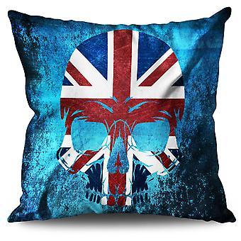 Skull Metal Flag Death UK Linen Cushion Skull Metal Flag Death UK | Wellcoda