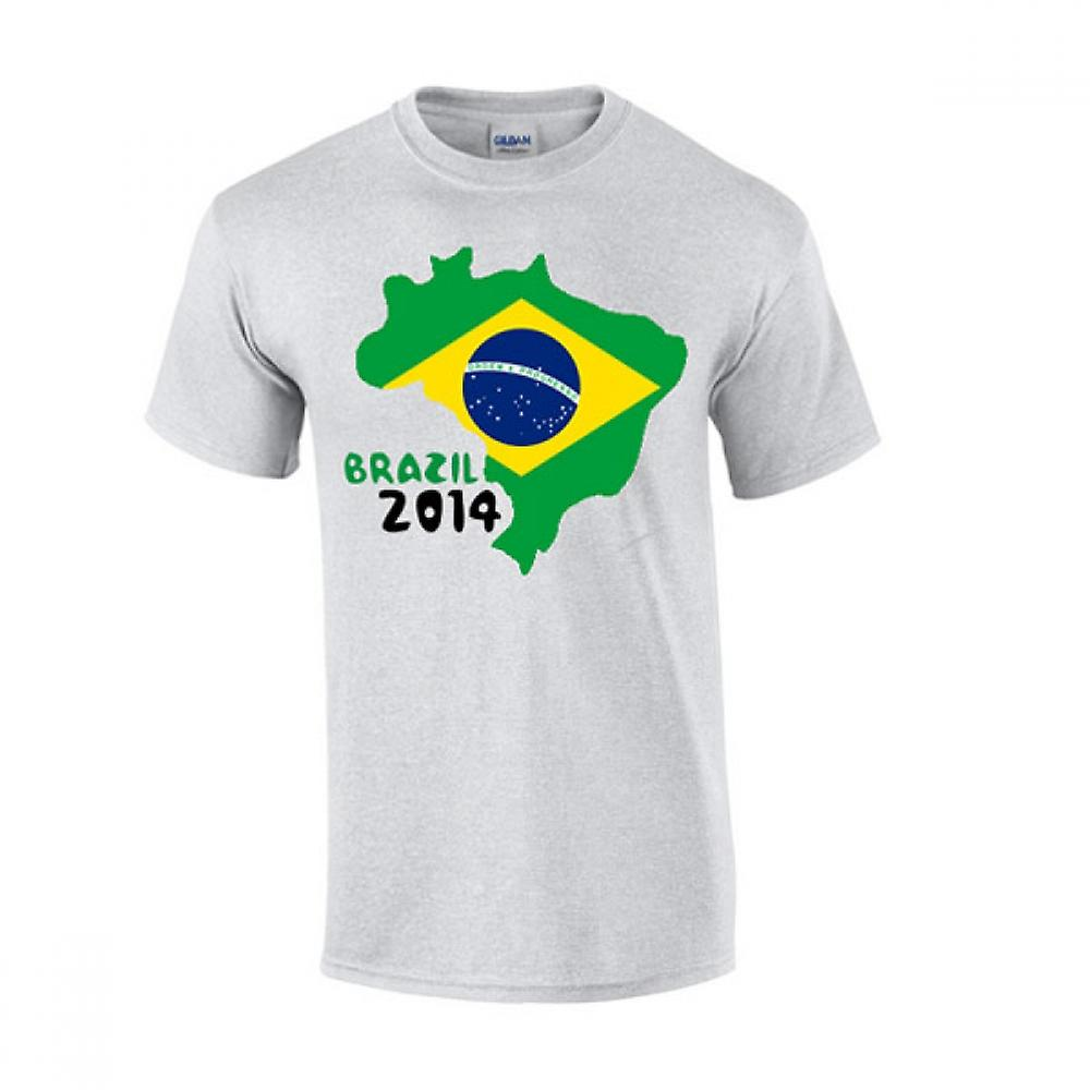 Brazil 2014 Country Flag T-shirt (grey)