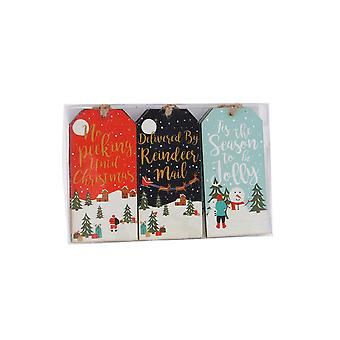CGB Giftware Christmas 6 Wooden Festive Greeting Gift Tags