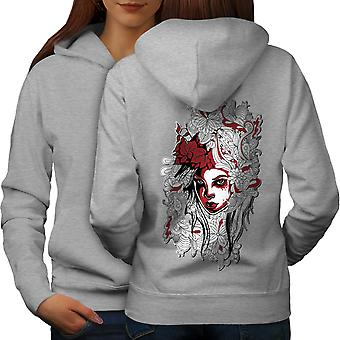 Woman Art Girl Fashion Women GreyHoodie Back | Wellcoda