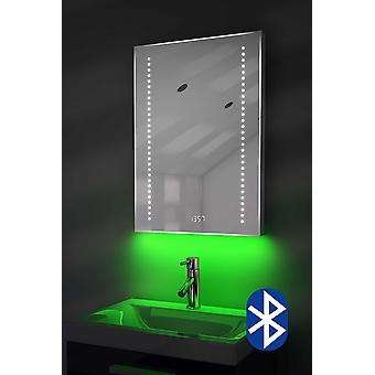 Clock Mirror with UnderLighting, Bluetooth, Demist & Sensor k185aud