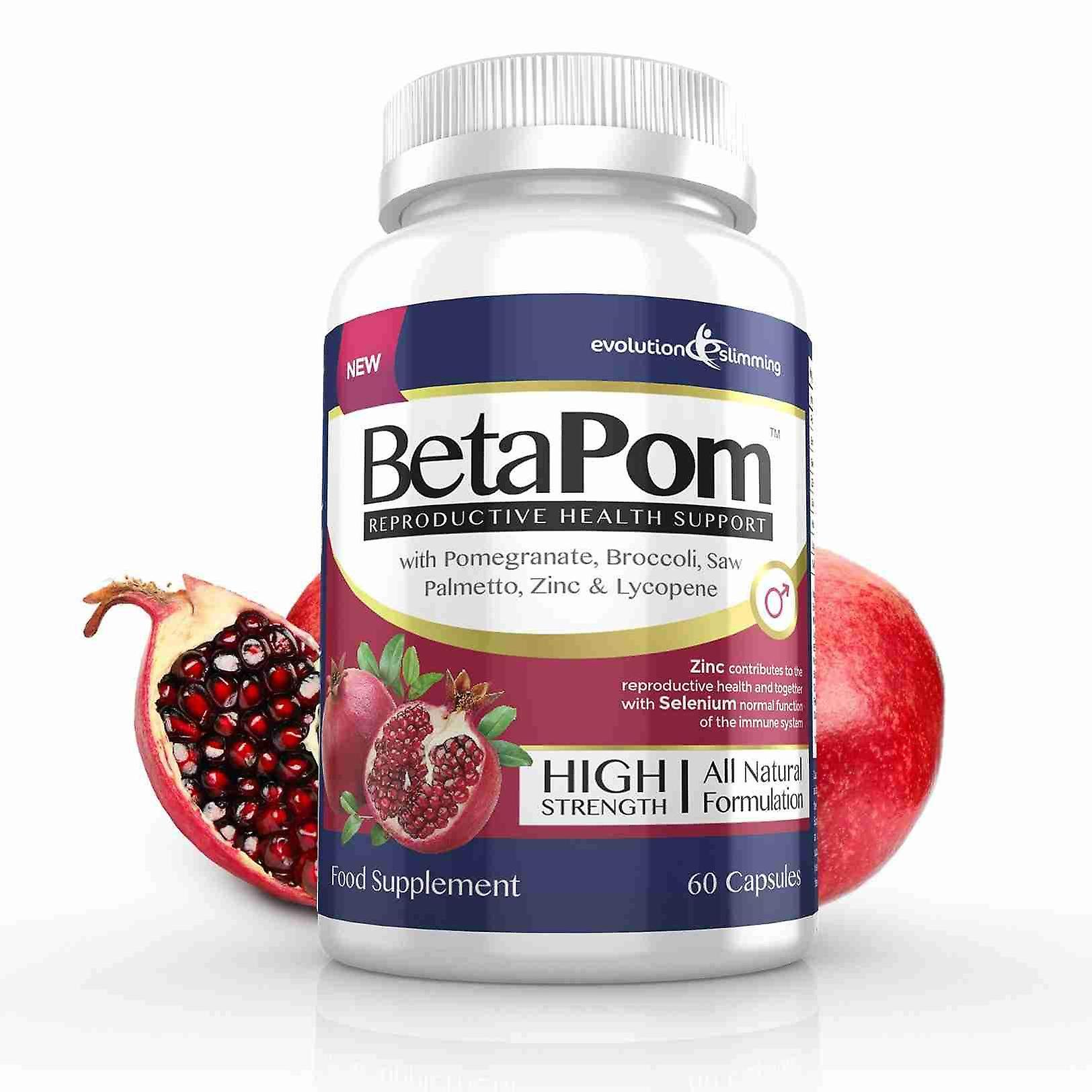 BetaPom Pomegranate Reproductive Health Support - 60 Capsules - Men's Health - Evolution Slimming