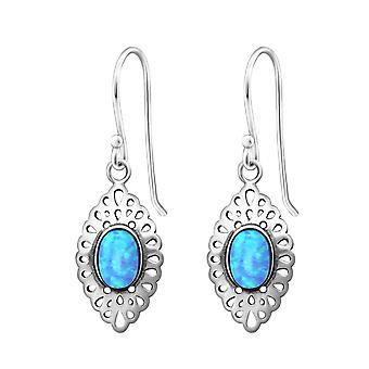 Marquise - 925 Sterling Silver Opal and Semi Precious Earrings