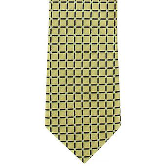 Michelsons of London Lattice Check Polyester Tie - Yellow