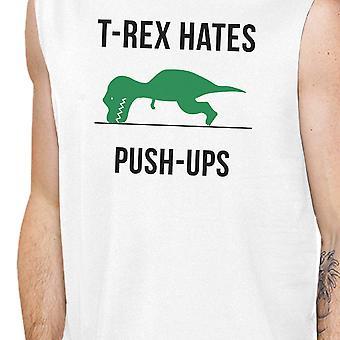 T-Rex Push Ups Mens White Muscle T-Shirt