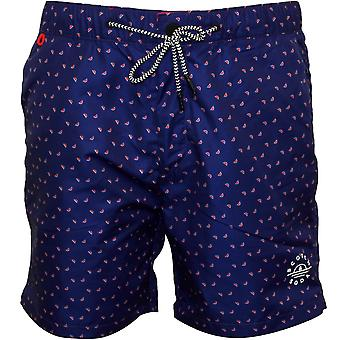 Scotch & Soda Mini Geo Pattern Classic Swim Shorts, Blue/coral