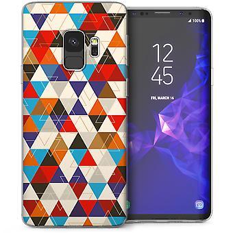 Samsung Galaxy S9 Geometric Triangles TPU Gel Case - Blue / Red
