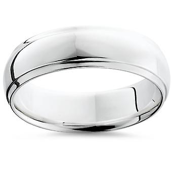 Step Cut Polished Wedding Band 14K White Gold