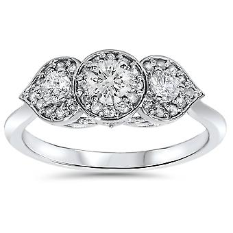 1/2ct Vintage 3 Stone Floral Petal Diamond Engagement Ring 14K White Gold