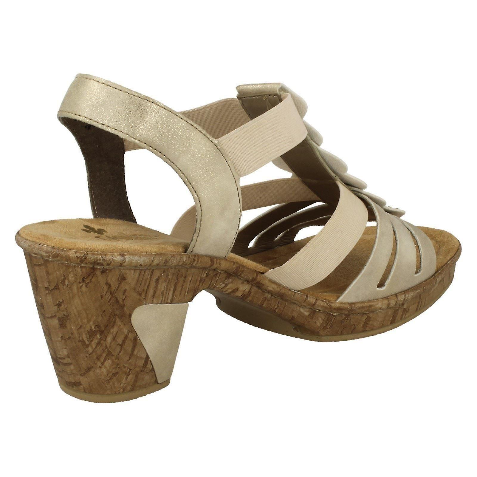35b32a84bf26f Ladies Rieker Slingback Heeled Sandals 69702-60 - Beige Synthetic - UK Size  8 -