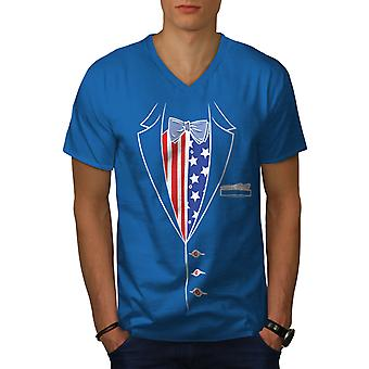 Amerikanische Flagge Anzug Männer Royal BlueV-Neck T-shirt   Wellcoda