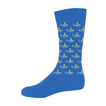 Los Beatles amarillo submarino insignia oficial para hombre nuevos calcetines azules (Reino Unido tamaño 7-11)