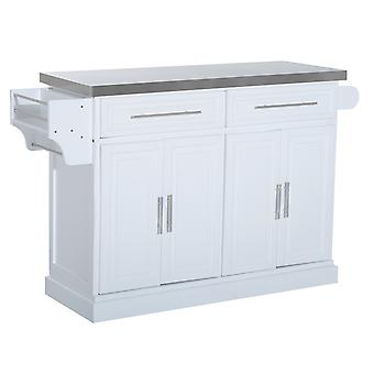 HOMCOM Modern Kitchen Cart Mobile Cabinet Storage Unit w/2 Drawers Stainless Steel Top White