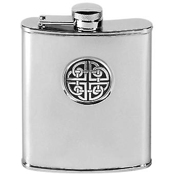 Orton West 6oz Stainless Steel Celtic Knot Hip Flask - Silver