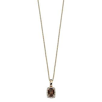 Elements Gold Smoky Quartz and Diamond Cluster Pendant - Brown/Gold