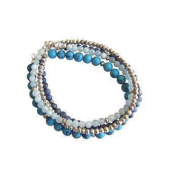 Gemshine - ladies - bracelet set - sea breeze silver - turquoise - aquamarine - lapis lazuli - blue - 925 Silver