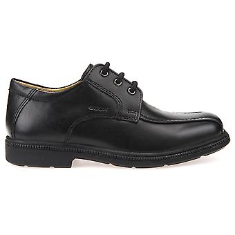 Geox Boys Federico J52D1H Lace School Shoe Black Leather