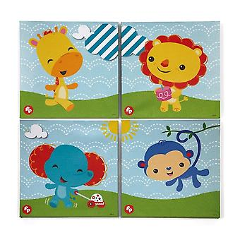 Set of 4 squares in canvas