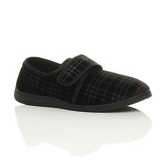 Ajvani mens adjustable comfort diabetic orthopaedic slippers grip sole house shoes
