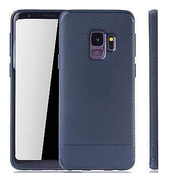 Samsung Galaxy S9 mobiele dekking Schutzcase koolstof optic bumper Blau