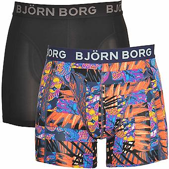 Bjorn Borg 2 Pack Jungle Square, Microfiber Shorts, Black / Orange Print, X-Large