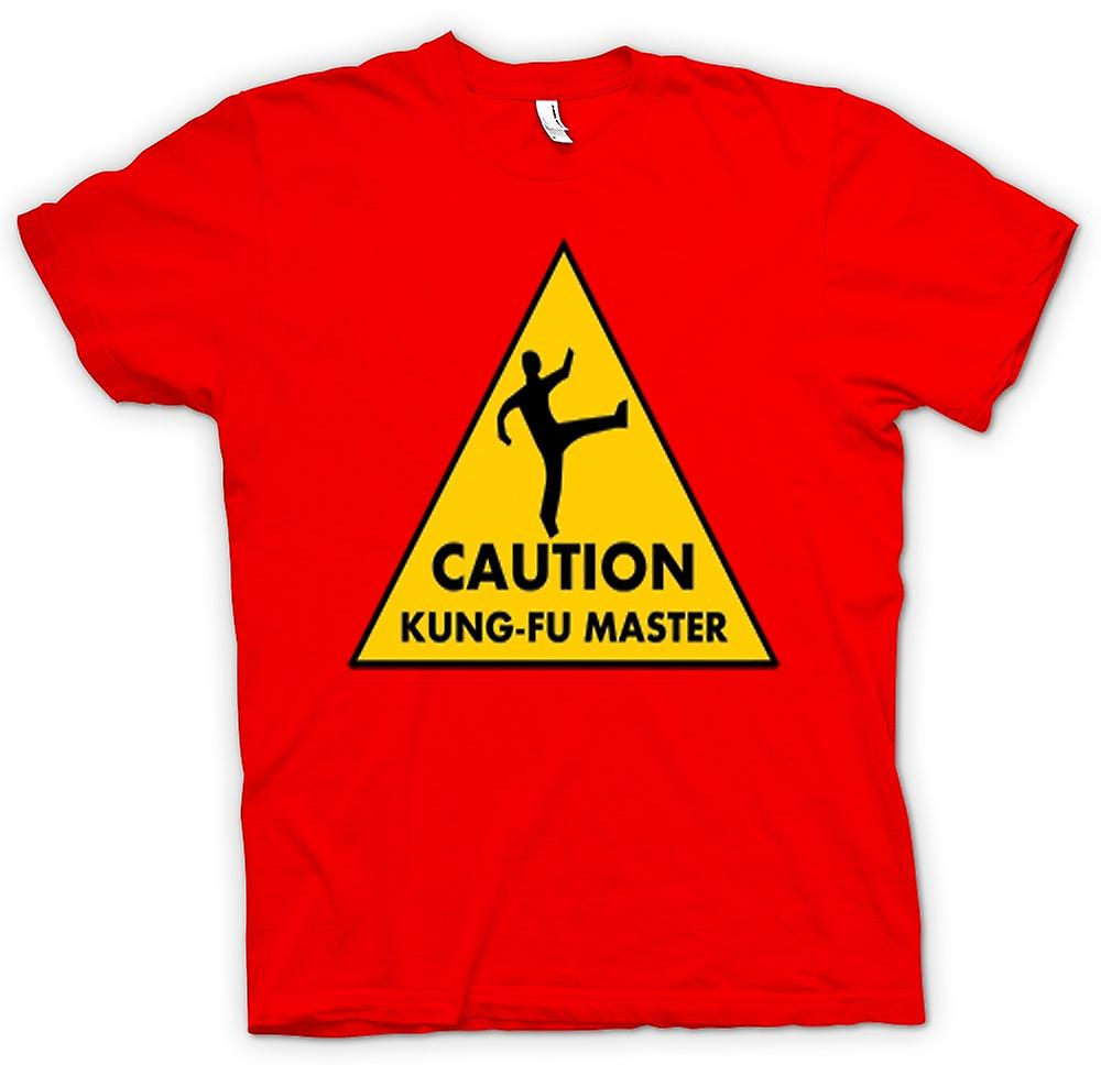 Mens T-shirt - Caution - Kung Fu Master Warning Sign