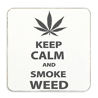 Keep Calm And Smoke Weed Cork back Coaster