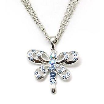TOC Silvertone Blue Rhinestone Dragon Fly Pendant on 16 Inch Triple Chain