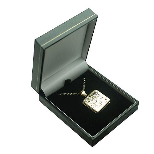 9ct Gold 22mm flat square hand engraved Locket with a belcher Chain 16 inches Only Suitable for Children