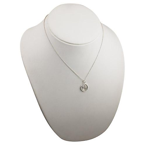 Silver 11mm pierced Capricorn Zodiac Pendant with a rolo Chain 18 inches