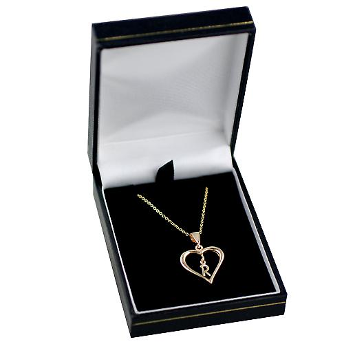 9ct Gold 18x18mm initial R in a heart Pendant with a cable Chain 16 inches Only Suitable for Children