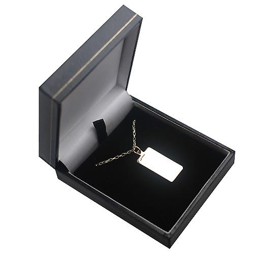 9ct Gold 26x13mm plain rectangular Disc with a belcher Chain 16 inches Only Suitable for Children