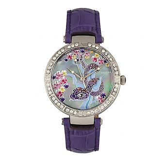 Bertha Mia Mother-Of-Pearl lederen-Band Watch - paars