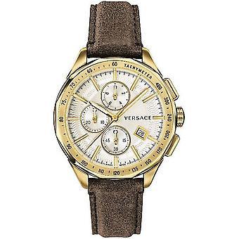Versace mens watch wristwatch chronograph GLAZE leather VEBJ00418