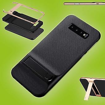 For Samsung Galaxy S10 plus G975F 6.4 tommer stående hybrid sag 2 stykke SWL udendørs sort taske tilfælde dække beskyttelse